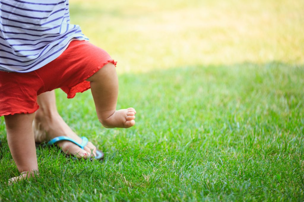 Baby's first steps on the grass.