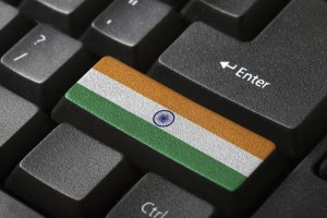 Indian flag button on the keyboard. close-up